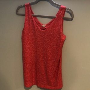 J Crew Factory Coral Sequin tank top, M